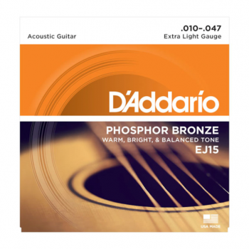 D`Addario EJ15 - Phosphor Bronze Round Wound - Extra Light .010 - .047