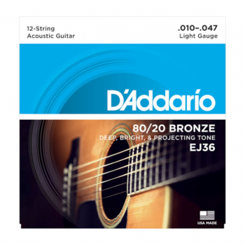 D`Addario EJ36 80/20 12-String Bronze Acoustic Guitar Strings - Light - 10-47