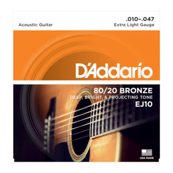 D`Addario EJ10 80/20 Bronze Acoustic Guitar Strings - Extra Light - 10-47