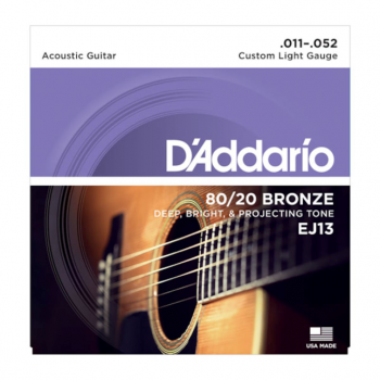 D`Addario EJ13 80/20 Bronze Acoustic Guitar Strings - Custom Light - 11-52