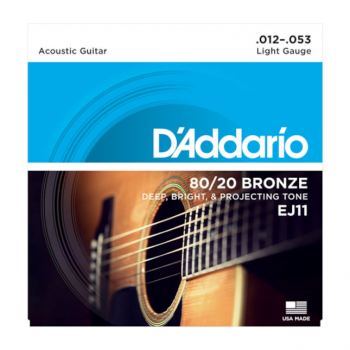 D`Addario EJ11 80/20 Bronze Acoustic Guitar Strings -Light - 12-53