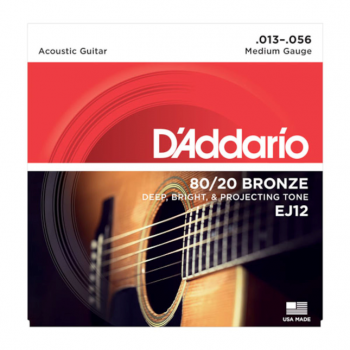 D´Addario EJ12 80/20 Bronze Acoustic Guitar Strings -Medium - 13-56