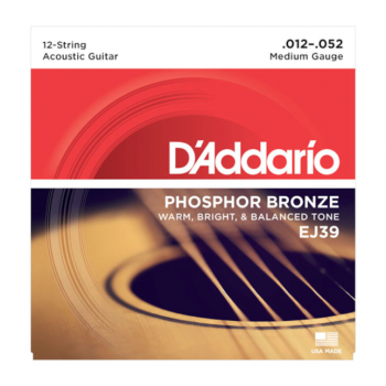 D`Addario EJ39 12-String Phosphor Bronze, Medium, 12-52