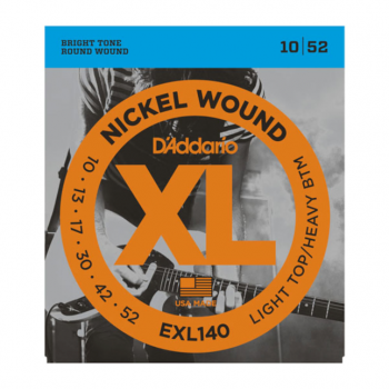 D`Addario EXL140 Nickel Wound, Light Top/Heavy Bottom, 10-52